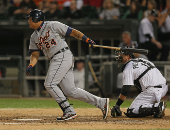 CHICAGO, IL - SEPTEMBER 12: Miguel Cabrera #24 of the Detroit Tigers hits a single in the 7th inning against the Chicago White Sox at U.S. Cellular Field on September 12, 2012 in Chicago, Illinois. (Photo by Jonathan Daniel/Getty Images)