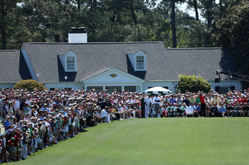 The first tee at Augusta is always lined on both sides with patrons.
