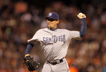 Josh Spence pitches for his former team, the San Diego Padres, during an August 23, 2011 game against the San Francisco Giants