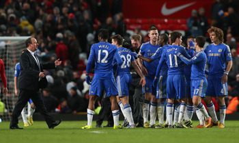 Chelsea players celebrate their comeback against Manchester United in the FA Cup.