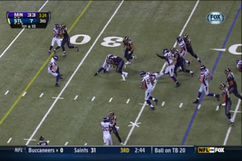 Steven Jackson runs somewhat high, but he has a tendency to finish his runs with his head down.