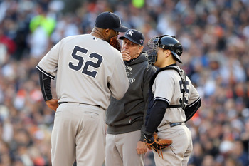 CC Sabathia discusses dessert options with Yankee teammates