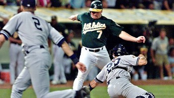 Jeter famously executed this flip play in October 2001 to save a run. AP Photo/Eric Risberg