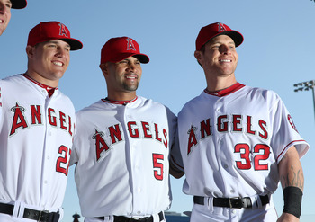 Mike Trout, Albert Pujols and Josh Hamilton.