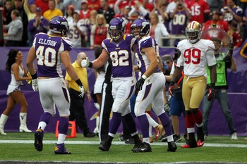 Rhett Ellison (40), Kyle Rudolph (82) and John Carlson (89) give the Vikings a solid set of tight ends.