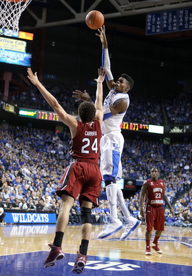 LEXINGTON, KY - FEBRUARY 05:  Nerlens Noel #3 of the Kentucky Wildcats shoots the ball during the game against the South Carolina Gamecocks at Rupp Arena on February 5, 2013 in Lexington, Kentucky.  (Photo by Andy Lyons/Getty Images)