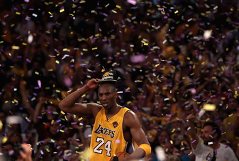 Kobe Bryant celebrates his fifth championship.