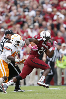 Running back Marcus Lattimore is an injury risk.