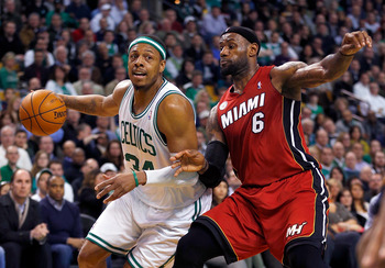 James guards Paul Pierce during a March 18 game in Boston