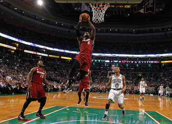 James goes up for a dunk against the Celtics.