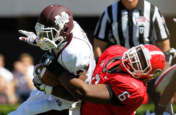 John Jenkins makes a tackle against Mississippi State.