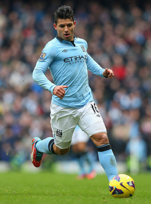 MANCHESTER, ENGLAND - FEBRUARY 24:  Sergio Aguero of Manchester City during the Barclays Premier League match between Manchester City and Chelsea at Etihad Stadium on February 24, 2013 in Manchester, England.  (Photo by Alex Livesey/Getty Images)