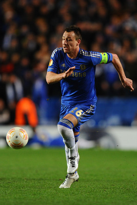 LONDON, ENGLAND - MARCH 14: John Terry of Chelsea in action during the UEFA Europa League Round of 16 Second leg match between Chelsea and FC Steaua Bucuresti at Stamford Bridge on March 14, 2013 in London, England.  (Photo by Laurence Griffiths/Getty Ima