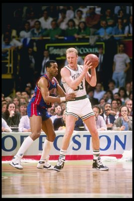 Dantley guarding Larry Bird like he now guards crosswalks.
