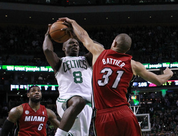 Not bad for a guy who can't jump: Shane Battier helped seal the win against Boston.
