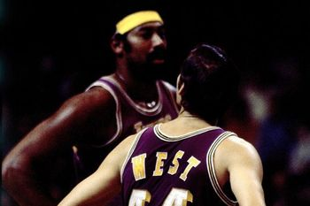 Wilt Chamberlian and Jerry West. Photo credit: Dick Raphael NBAE/Getty Images