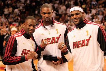 Miami's Big Three: (from left to right) Dwyane Wade, Chrish Bosh and LeBron James