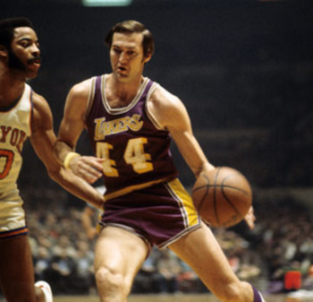 Jerry West drives against a New York Knick. Photo Credit: Sports Illustrated