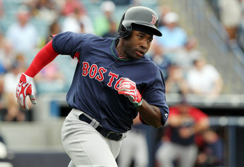 March 20, 2013; Tampa, FL, USA; Boston Red Sox center fielder Jackie Bradley Jr. (74) doubles during the first inning against the New York Yankees  at George M. Steinbrenner Field. Mandatory Credit: Kim Klement-USA TODAY Sports