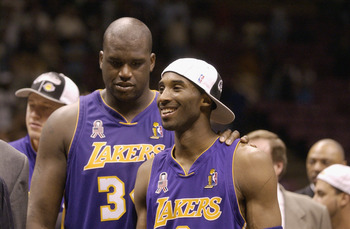 Los Angeles Lakers' Shaquille O'Neal, Kobe Bryant