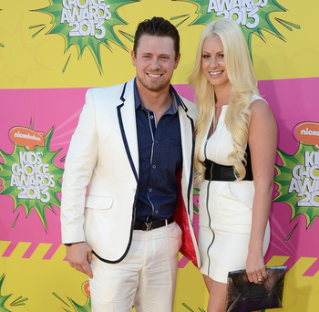 LOS ANGELES, CA - MARCH 23:  Wrestler Mike 'The Miz' Mizanin (L) and Maryse Ouellet arrive at Nickelodeon's 26th Annual Kids' Choice Awards at USC Galen Center on March 23, 2013 in Los Angeles, California.  (Photo by Frazer Harrison/Getty Images)