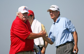Gary Koch (right) teamed with Roger Maltbie in a Champions Tour event.