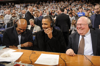 Verne Lundquist (right) rubs elbows with big-timers, too.