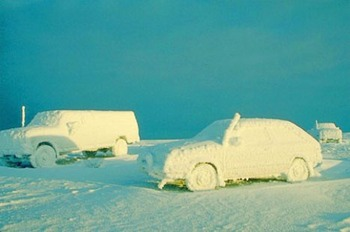 This is what happens when you leave your car in the parking lot too long. (Photo: Alaska-in-Pictures.com)