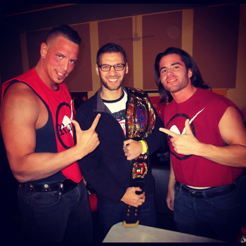 Myself with PWS Heavyweight Champion Kevin Matthews and Tri-State Champion Alex Reynolds. (photo credit: guttwrenchpowerblog.com)