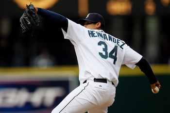 Seattle Mariners ace Felix Hernandez hurling on Opening Day 2007.