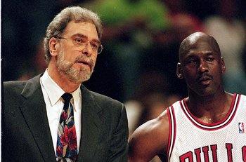 Chicago Bulls' Phil Jackson, Michael Jordan