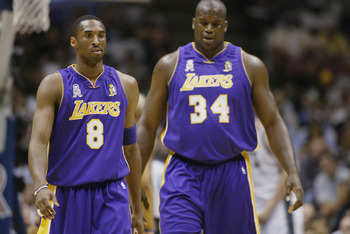 Los Angeles Lakers' Kobe Bryant, Shaquille O'Neal