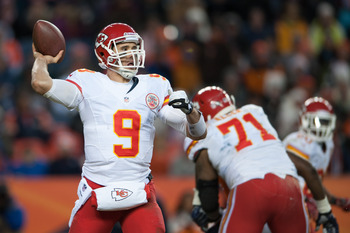 Brady Quinn winds up for a pass in a game last season for the Kansas City Chiefs.