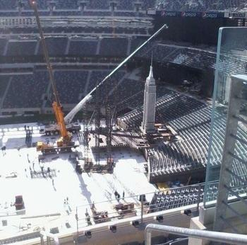 Leaked photo of WrestleMania 29's stage being built/ Photo courtesy of Wrestling News Source