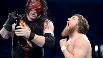 Daniel Bryan Arguing with Kane (photo courtesy of WWE.com)