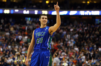 PHILADELPHIA, PA - MARCH 22:  Chase Fieler #20 of the Florida Gulf Coast Eagles celebrates in the second half against the Georgetown Hoyas during the second round of the 2013 NCAA Men's Basketball Tournament at Wells Fargo Center on March 22, 2013 in Phil