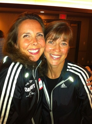 Mo Hayes, left, seen her with Team Hoyt coach and three-time Boston Marathon champ, Uta Pippig
