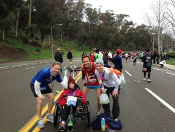 Ian Duffy, far right, with Team Pathman and Corey Hanrahan in a race on the west coast.