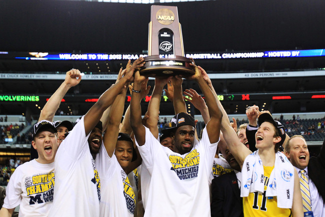 ARLINGTON, TX - MARCH 31:  Tim Hardaway Jr. #10 of the Michigan Wolverines and teammate celebrate their 79 to 59 win ovewr the Florida Gators during the South Regional Round Final of the 2013 NCAA Men's Basketball Tournament at Dallas Cowboys Stadium on M