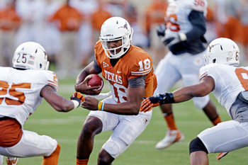 Eric Gray/Associated Press - Tyrone Swoopes was impressive in his Longhorn debut. The same could not be said about the rest of the Texas quarterbacks.