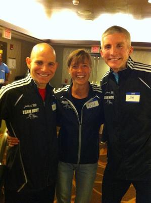 Neil Feldman, left, with Uta Pippig and teammate Jim Hughes. Feldman is one of Massachusetts top podiatrists, making him capable of doing double duty on Marathon Day.