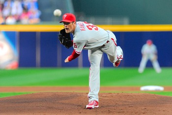 Making his first Opening Day start, Cole Hamels gives up three home runs in five innings