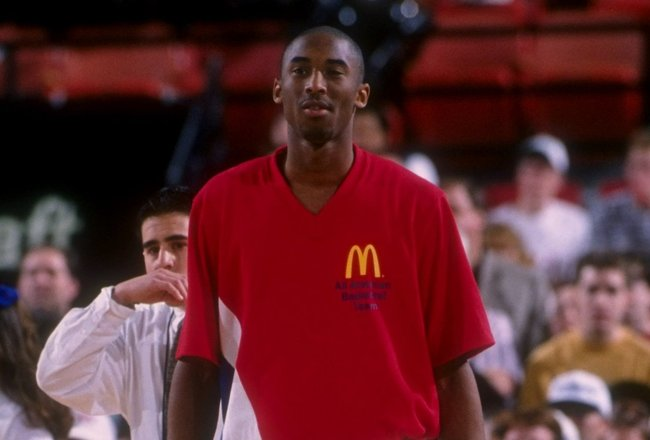 31 Mar 1996:  Kobe Bryant looks on during the McDonald''s All-American at the Civic Arena in Pittsburgh, Pennsylvania. Mandatory Credit: Doug Pensinger  /Allsport