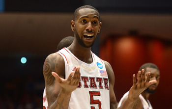 DAYTON, OH - MARCH 22:  C.J. Leslie #5 of the North Carolina State Wolfpack reacts to a call in the second half against the Temple Owls during the second round of the 2013 NCAA Men's Basketball Tournament at UD Arena on March 22, 2013 in Dayton, Ohio.  (P