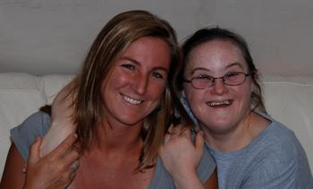 Meredith Flanagan and her sister Amanda, her inspiration and the reason she has become involved with Team Hoyt.
