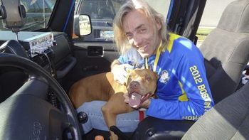 Ron McCracken with his dog, Pretty Girl