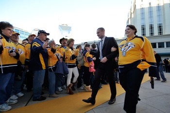 NASHVILLE, TN - JANUARY 19: Kevin Klein walks the gold carpet and greets fans prior to a game against the Columbus Blue Jackets at Bridgestone Arena on January 19, 2013 in Nashville, Tennessee. (Photo by Frederick Breedon/Getty Images)