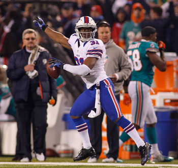 ORCHARD PARK, NY - NOVEMBER 15:  Jairus Byrd #31 of the Buffalo Bills celebrates his interception against the Miami Dolphins at Ralph Wilson Stadium on November 15, 2012 in Orchard Park, New York.  (Photo by Rick Stewart/Getty Images)