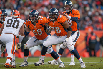 DENVER, CO - DECEMBER 23:  Tackle Ryan Clady #78 and guard Zane Beadles #68 of the Denver Broncos block for their quarterback during a game against the Cleveland Browns at Sports Authority Field at Mile High on December 23, 2012 in Denver, Colorado. The B