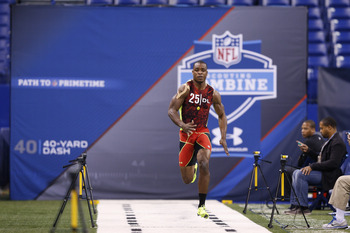 INDIANAPOLIS, IN - FEBRUARY 25: Dion Jordan of Oregon runs the 40-yard dash during the 2013 NFL Combine at Lucas Oil Stadium on February 25, 2013 in Indianapolis, Indiana. (Photo by Joe Robbins/Getty Images)